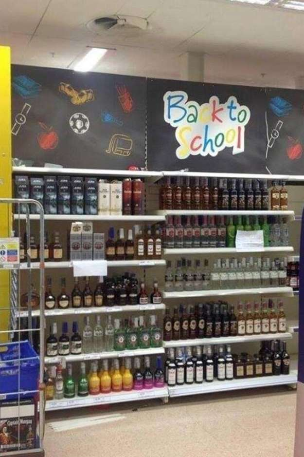Back to School Supermarket Alcohol