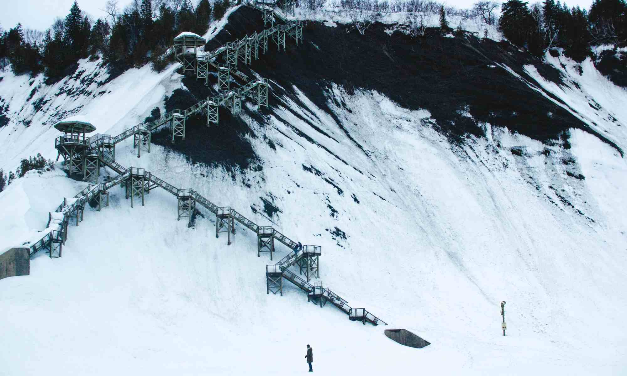 Winter view of the panoramic stairs near Montmorency Falls