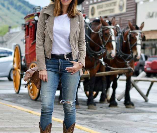 Sydne Style Shows Western Outfit Ideas In Cowboy Boots And Jeans