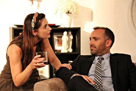 Jacki Nixon as Veronica and Yannick Lawry as Alan in the current revival of Yasmine Reza's THE GOD OF CARNAGE