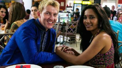 Co stars Brett Lee and  Tannishtha Chatherjee in UNindian