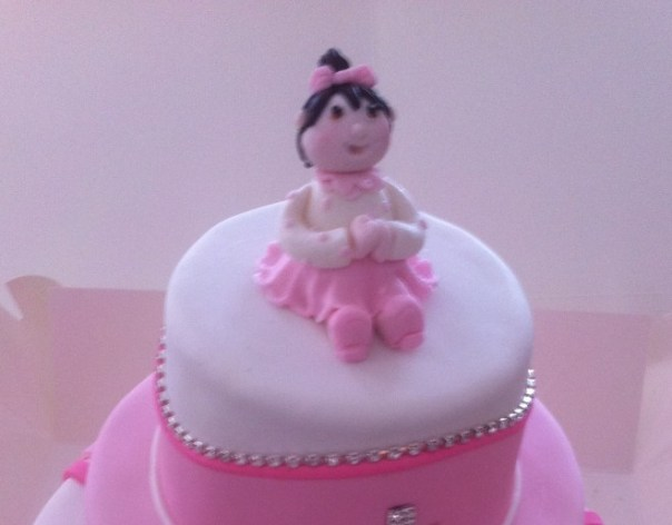 Three tier girl's Christening cake