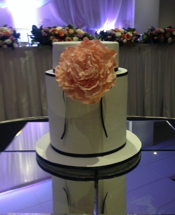 Triple Barrel Wedding Cake