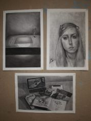 tryptic charcoal drawing