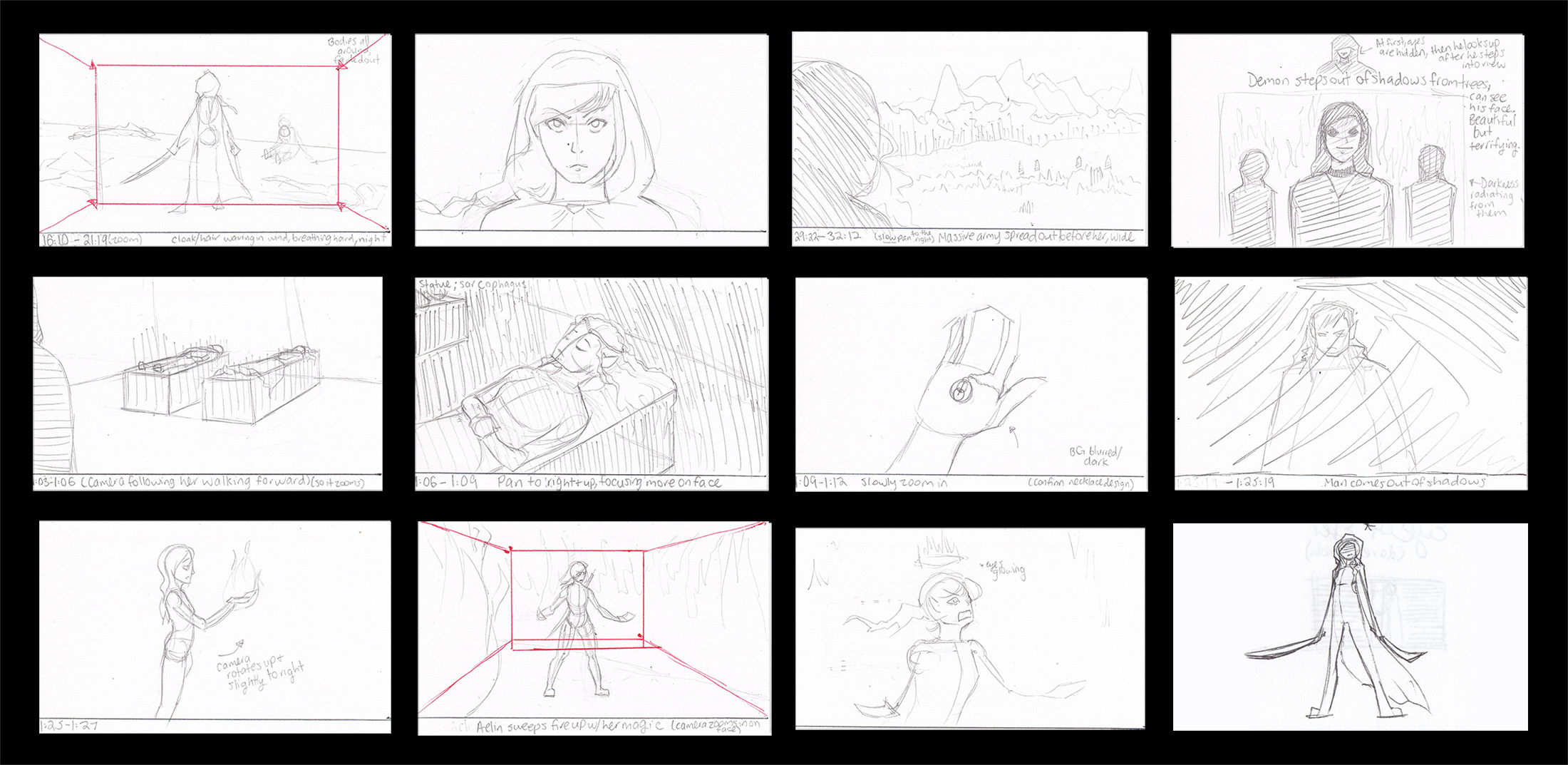 Black background with sketches arranged in rows and columns. Heroine before, during, and after battle. Facing villains – dark demons. Finding an amulet from a goddess. A strong character moves out of the shadows. Heroine discovers her powers of fire magic, uses them for good against the evil. Heroine holding swords.