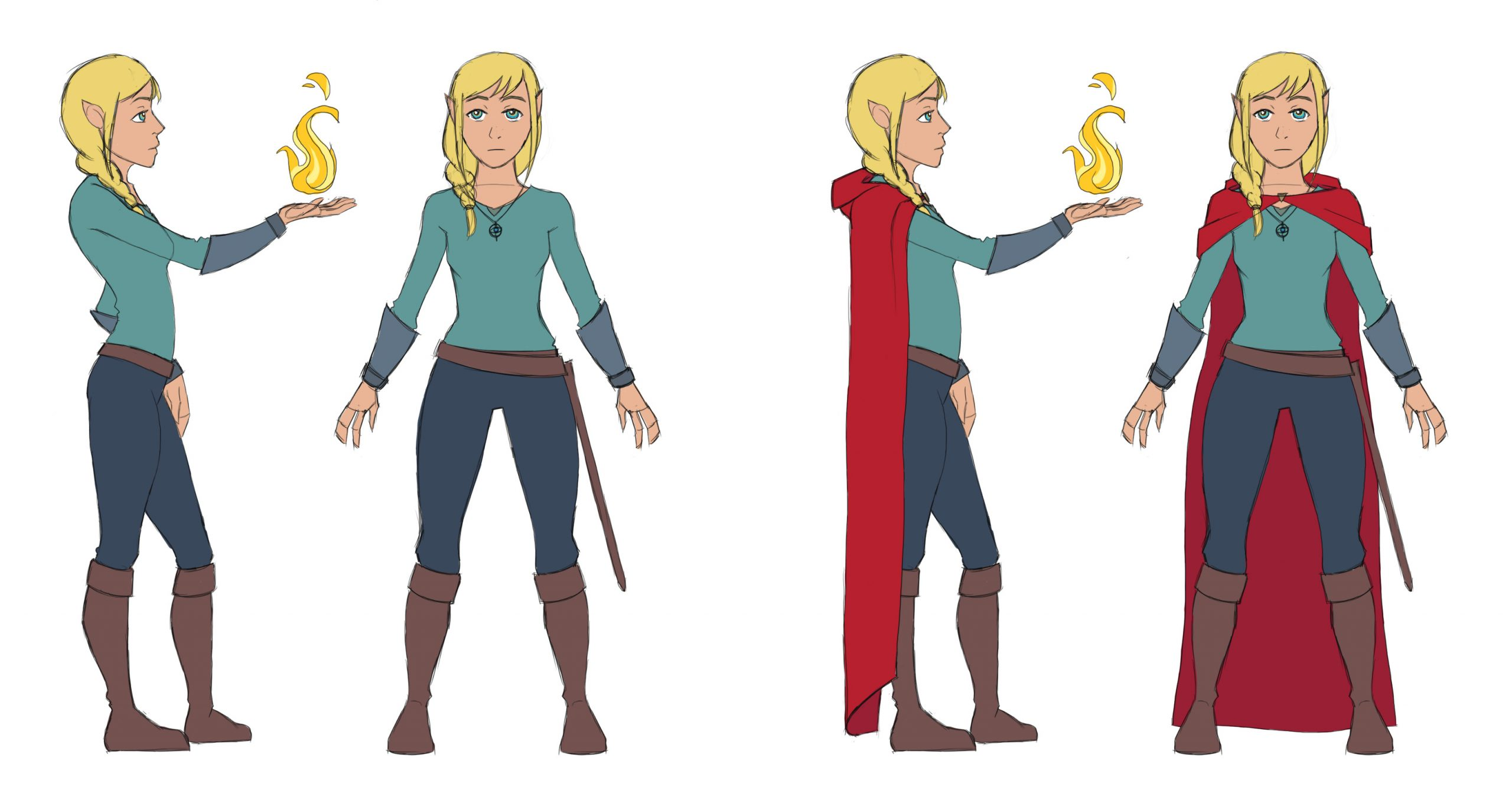 Average girl with gold-blonde hair and golden eyes. Her ears are slightly pointed. Donning a deep red cloak that acts as a cape, cool-themed shirt, gauntlets, and pants, as well as a sword belt and boots. Her hair is braided and to the side. She wields fire in her right hand.