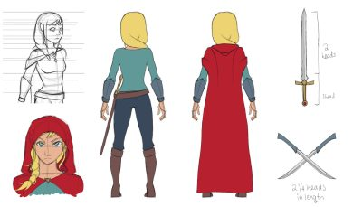 Average girl with gold-blonde hair and golden eyes. Her ears are slightly pointed. Donning a deep red cloak that acts as a cape, cool-themed shirt, gauntlets, and pants, as well as a sword belt and boots. Her hair is braided and to the side. There are several views of her – a ¾ view, two back views, and an emotional view. She is looking at us intently. Her swords are displayed – two twin swords of dark silver, and one longsword of gold and ruby.
