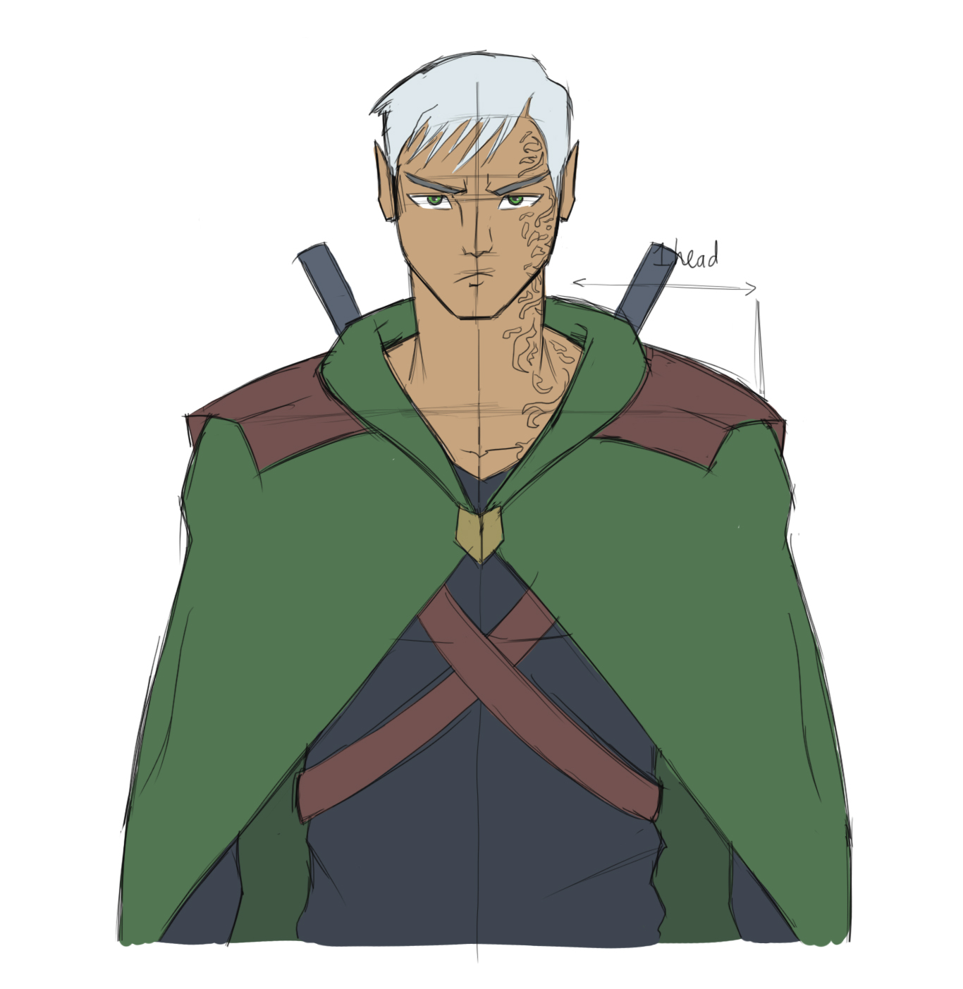 Tan and built male with snow-white hair. He looks at us with a determined expression. He wears a forest-green cloak with eyes to match. Underneath is a black shirt. On his back he carries two twin blades, the handles are peeking over his shoulders.
