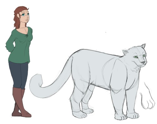 Tan, slim girl with pine-green eyes and matching shirt. Dark hair that is half-up and thrown behind her shoulders. Standing next to her is an average-sized mythical snow leopard, almost half of the girl's height.