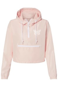 Wildly You Butterfly Logo Embroidered Blush Lightweight Pullover Crop Windbreaker