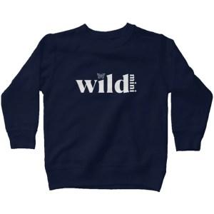 Wild Mini kids fleece sweatshirt navy with white l