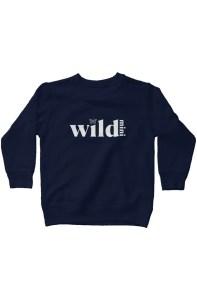 Wild Mini kids fleece sweatshirt navy with white letters