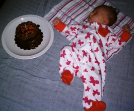 This evening with her Happy 1 Month Cake!