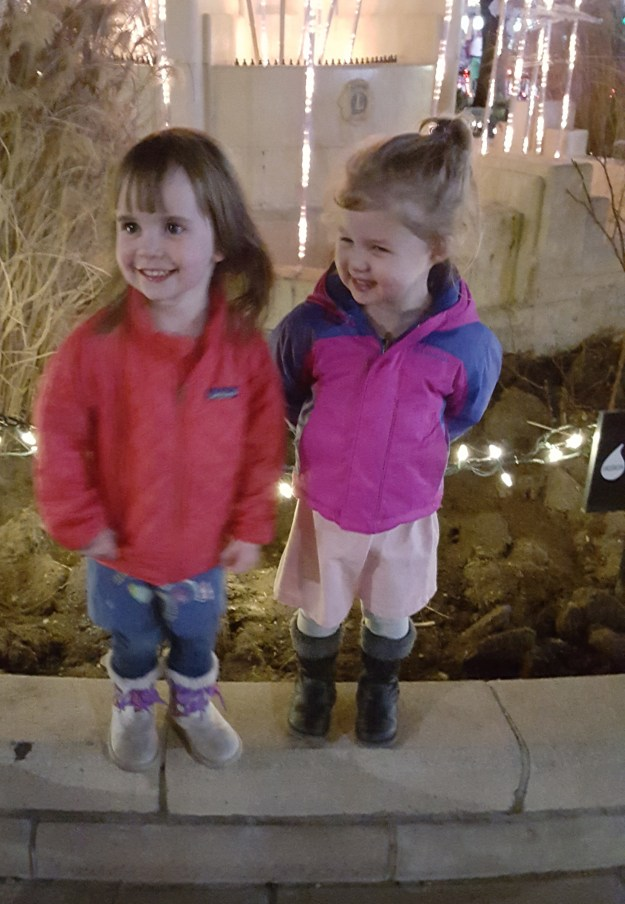 Sydney and Evelyn had a great time running up Pearl Street, touching all the lights (12/10/15)