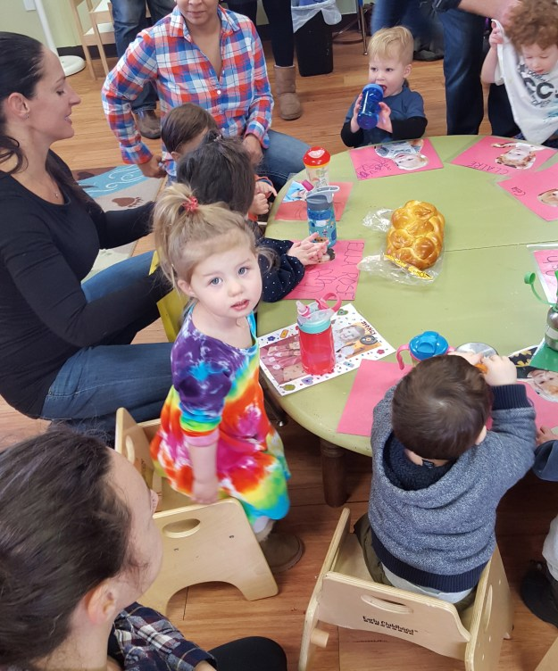 Our last Friday PAL (PLay and Learn) class at the JCC. Favorite part of class: Challah time! (12/18/15)