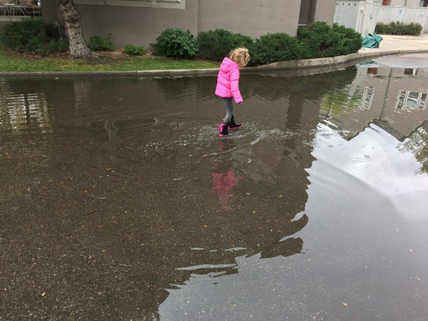 Wading in a puddle