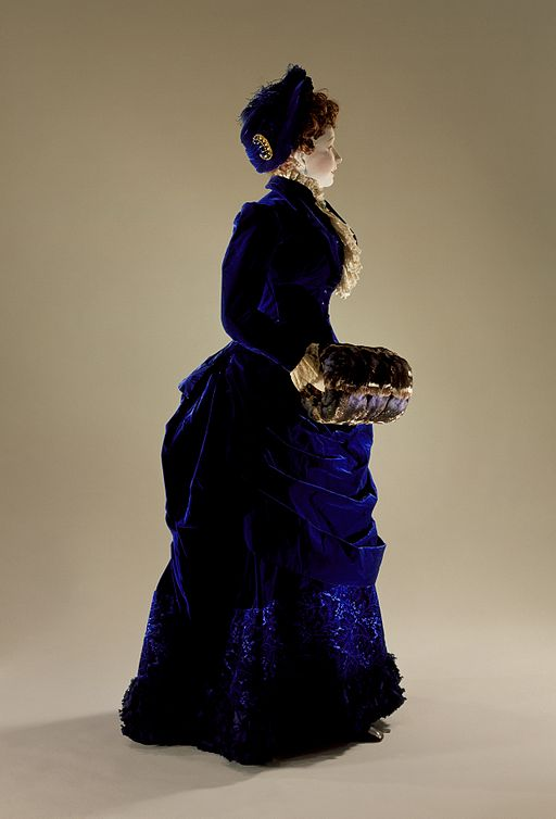 Blue silk and velvet gown