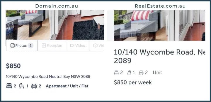 Sydney apartment rental listing example