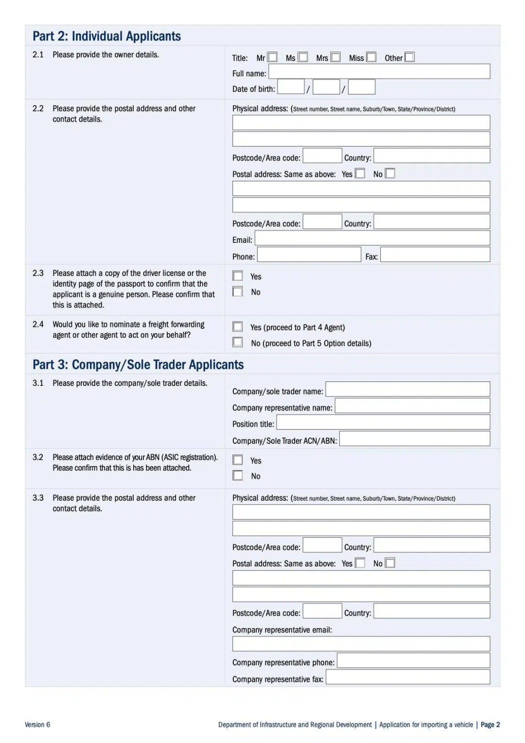 Application for Shipping Car to Australia Page 2