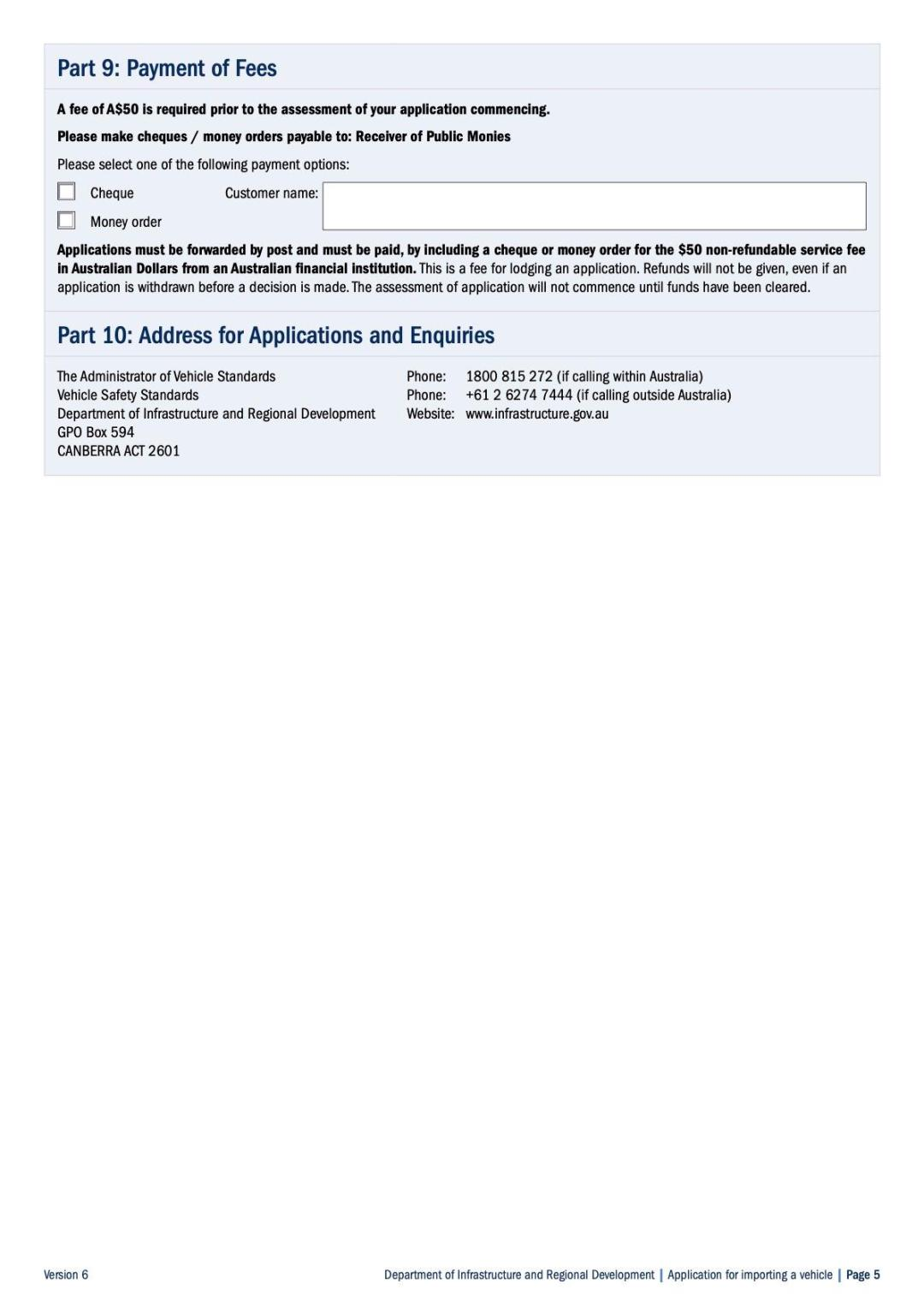 Application for Shipping Car to Australia Page 5