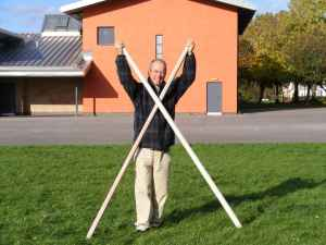 Nigel Briggs with the original Polo goal posts