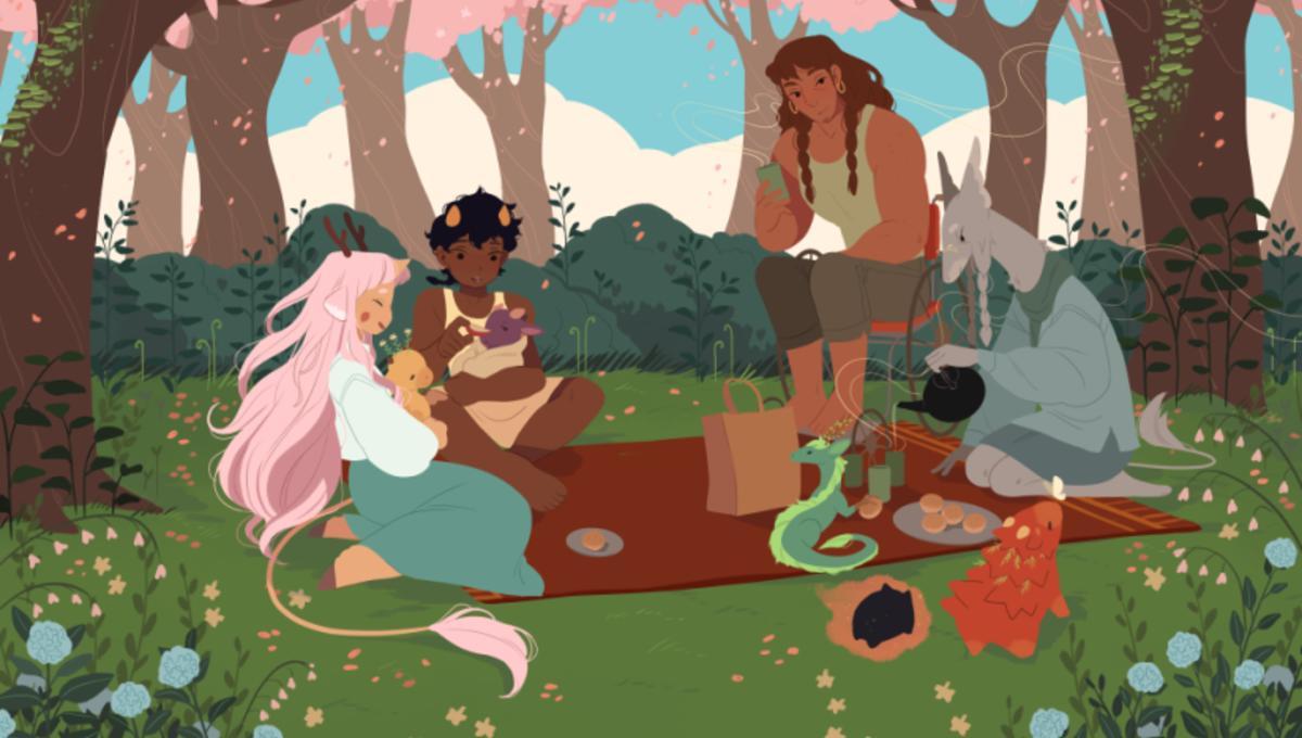 """Ilustración de """"La sociedad de los dragones del té"""", de Katie O'Neill."""