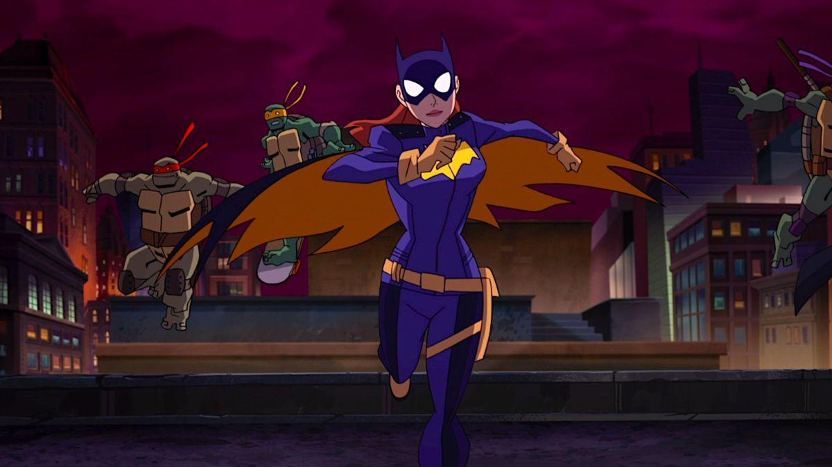 Batgirl and the Ninja Turtles running over rooftops