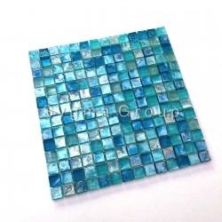 carrelage et mosaique de verre bleue pour salle de bain et cuisine arezo turquoise