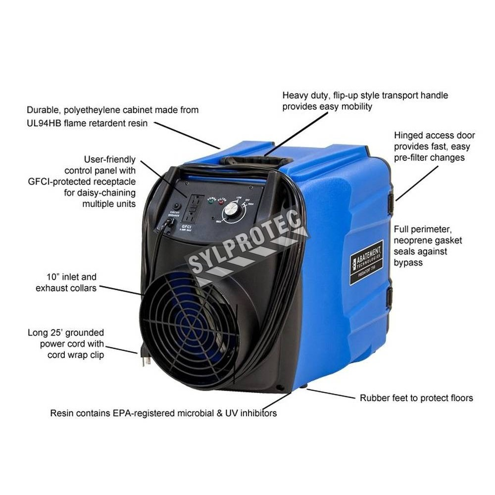 predator 750 portable air scrubber with airflow from 200 to 750 cfm ideal for asbestos abatement and decontamination work zone