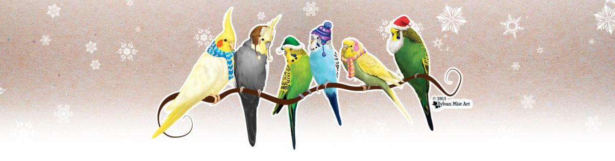 Christmas Parakeets and cockatiels