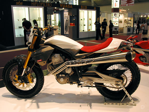The prototype for the Derbi Mulhacen, a modern scrambler in red and white