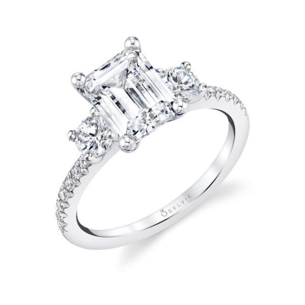 Emerald Cut Engagement Ring with Round Side Stones | Gemma