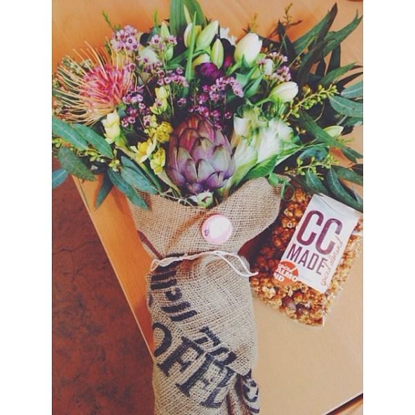 speechless when my eyes first saw this dreamy @farmgirlflowers artichoke wildflower bouquet & caramel corn. @robdubious, you did good.