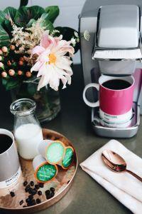 Coconut Milk Coffee Creamer Recipe | Vitacup | Pantone Coffee Mugs | Keurig | Cafe Au Lait Dahlias | Rose Gold Copper Flatware | Rose Gold Copper Serving Tray | Blush Pink Ikat Napkin