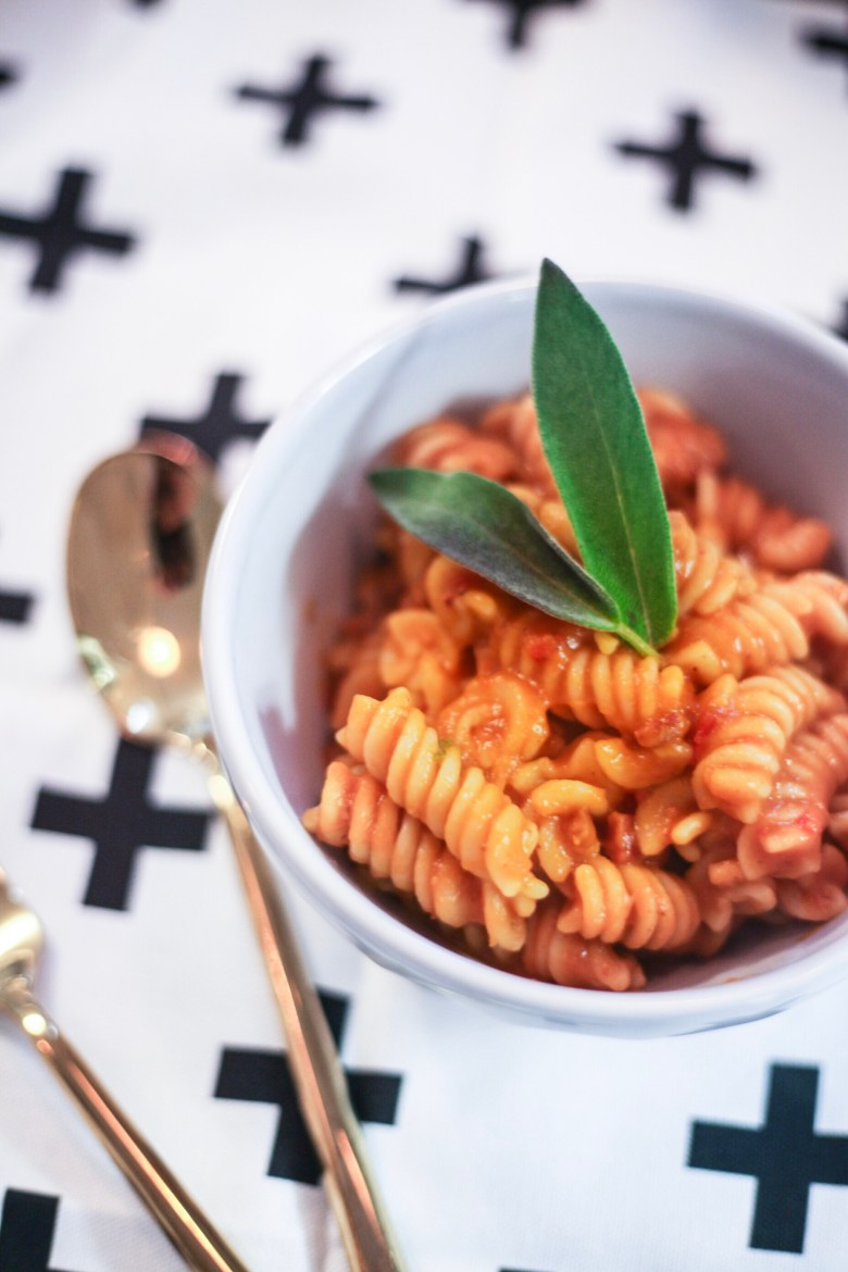 20 Minute Gluten Free Butternut Squash Pancetta Pasta - EAT: Gluten Free Pasta Recipe: Butternut Squash and Pancetta featured by popular San Francisco lifestyle blogger, Sylvie in the Sky