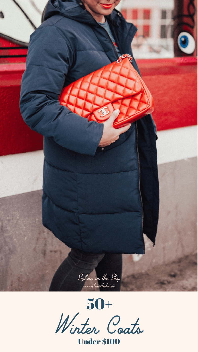 STYLE: THE BEST AFFORDABLE WINTER COATS UNDER $100 FOR WOMEN by popular San Francisco fashion blog, Sylvie in the Sky: image of a woman standing outside and wearing a navy puffer coat and holding a quilted red Chanel purse.