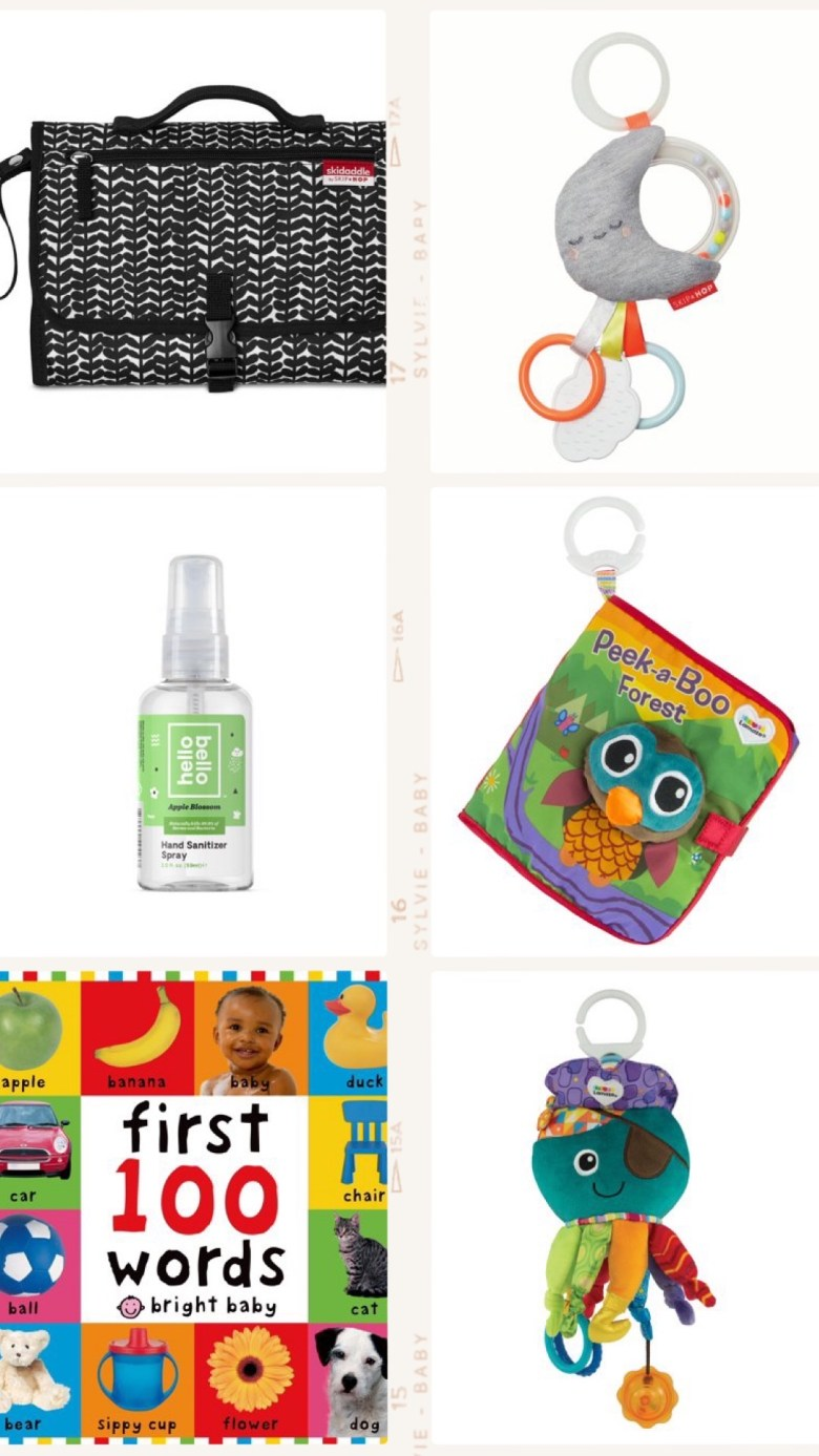 Best Diaper Bag Essentials for 2019 & 2020 by popular San Francisco lifestyle blog, Sylvie in the Sky: collage image of first 100 words board book, Skidoodle diaper changing kit, Hello Bello hand sanitizer spray, skiphop teether toy, and quiet book.