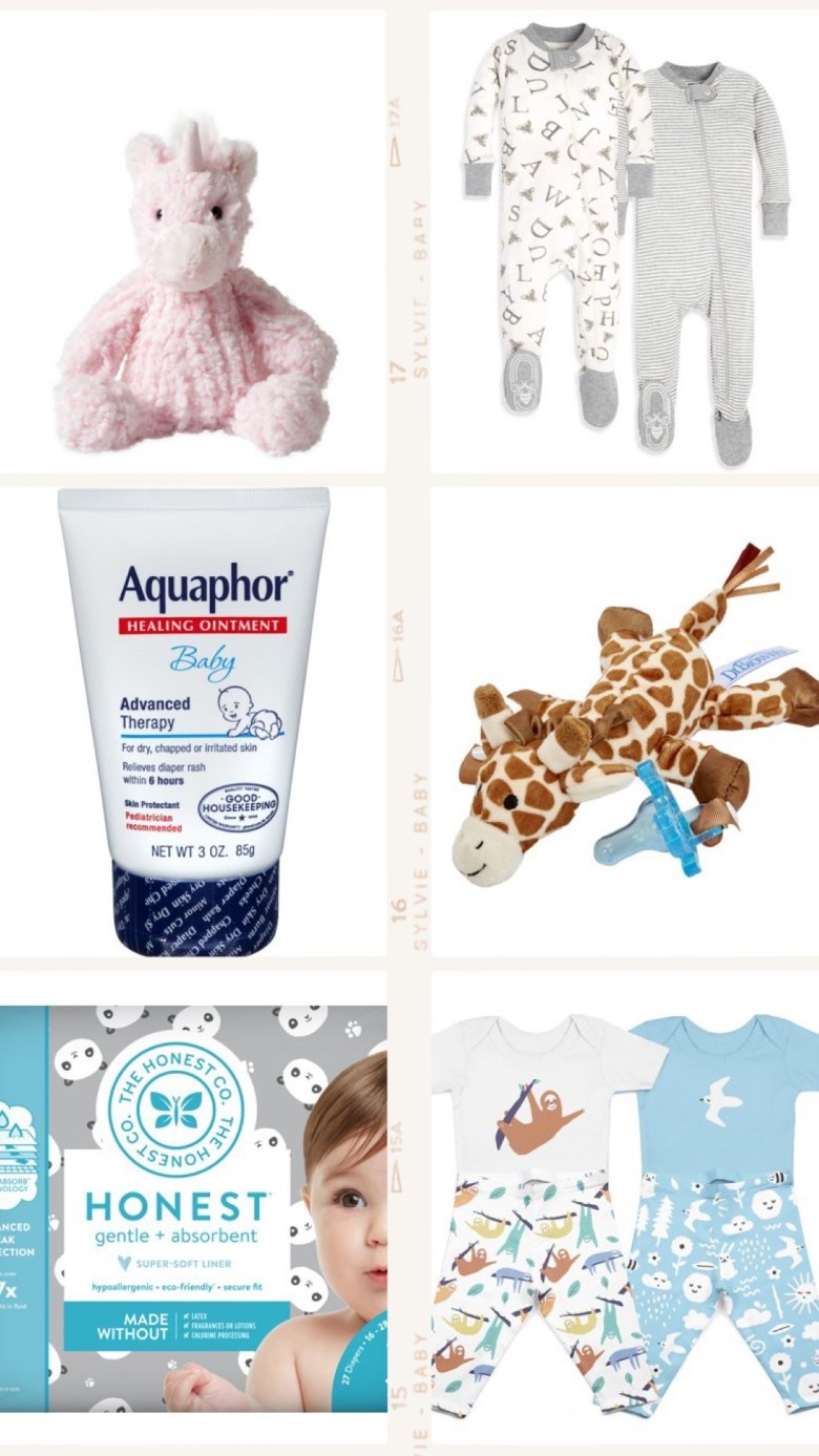 Best Diaper Bag Essentials for 2019 & 2020 by popular San Francisco lifestyle blog, Sylvie in the Sky: collage image of Aquaphor baby advanced therapy healing ointment, Honest Co. diapers, Dr. Brown giraffe pacifier holder, Walmart Manhattan Toy Adorables Petals Unicorn, and Walmart Hello Bello Organic Short Sleeve Bodysuits & Pants, 4pc Outfit Set.
