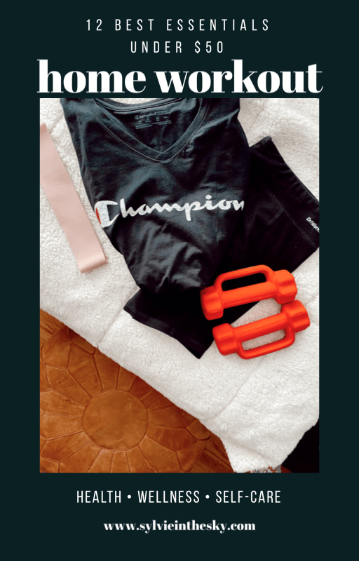 Best Home Workout Equipment by popular San Francisco lifestyle blog, Sylvie in the Sky: Pinterest image of a Champion t-shirt, white towel, hand weights, and exercise band.
