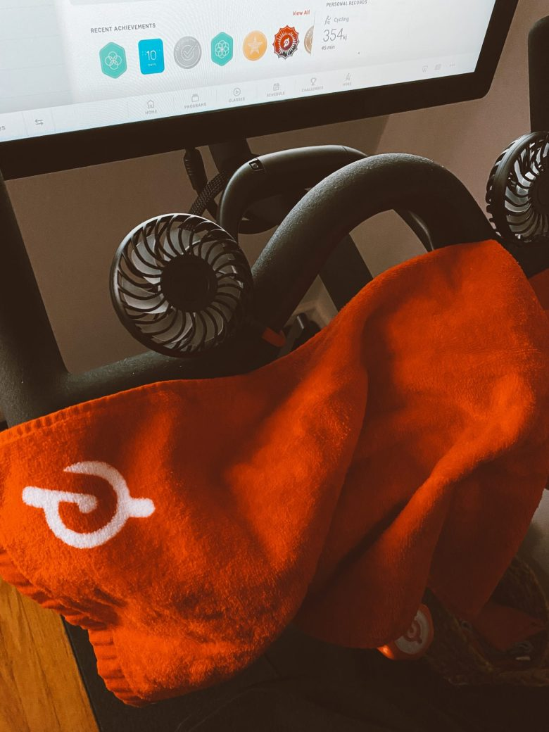 Peloton Bike by popular San Francisco lifestyle blog, Sylvie in the Sky: image of a Peloton Bike sweat towel.