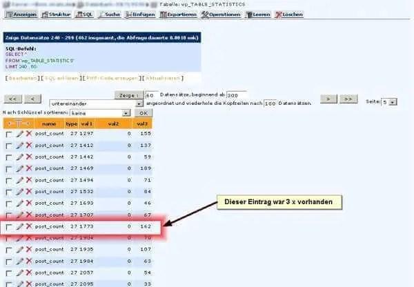 Screenshot Datenbankeintrag