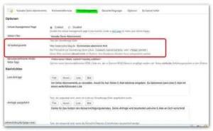 Eintrag des Dateinamens der Abo-Seite unter Verwaltungsseite
