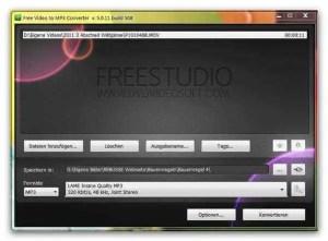 Arbeitsoberfläche Free Video to MP3 Konverter