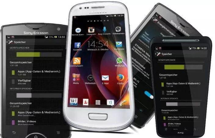 Darstellung von Handy-Screenshots