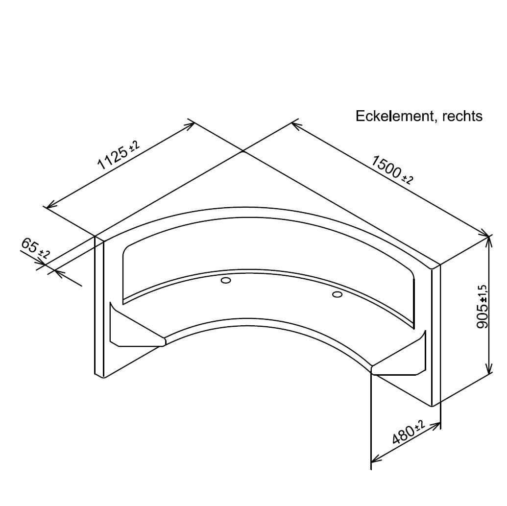 Steambath Corner Seat Acryl Bench 150cm Right White