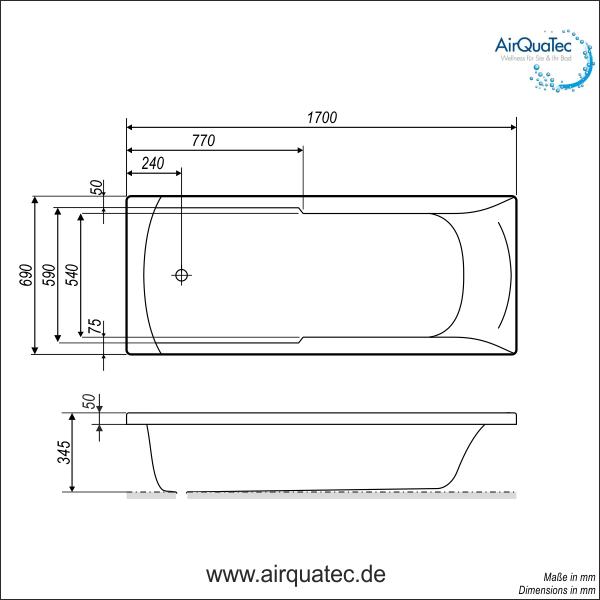 low edge ridge profile bathtub 170 x 70 cm square, low entry!