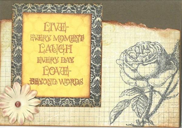 Live laugh love farewell card