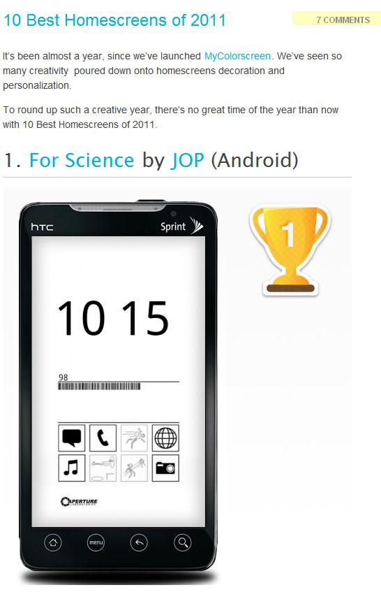 10 Best Homescreens of 2011 - MyColorscreen Blog