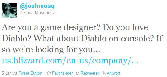 Josh Mosqueira sucht auf Twitter nach Verstärkung für die Konsolenversion von Diablo 3