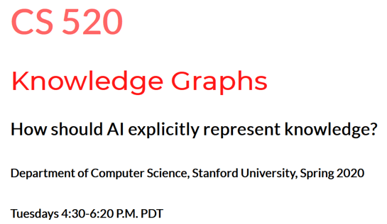 Stanford Knowledge Graphs Course